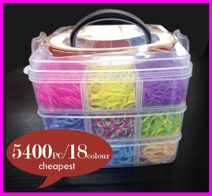 5400 stück + 200 s- clips+ 2 große hook+ 10 kleine haken 18 farben neuen stil tranparent box 3-schicht diy webstuhl Bands kit minen für kind