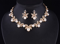White Crystal Butterfly Design Earrings and Pearl Necklace Set,Real 18K Gold Plated Bridal Wedding Jewelry Sets