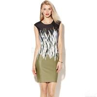 S-XXL Elegant Slim Dress Women Lady Print Dress Career Work Party Dress Casual Dress 2014 New Fashion Summer Autumn C9ML089