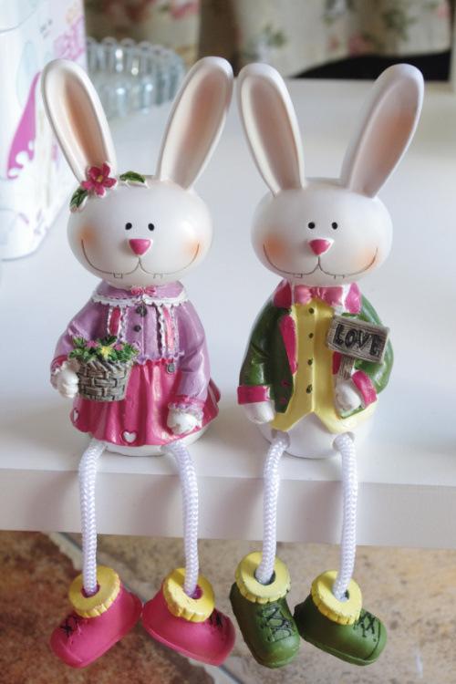 casa coelho amantes do jardim decoração da resina animal dom eletrodomésticos rústico desenho colorido presente ofício 4 pcs/set(China (Mainland))
