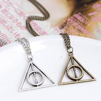New Harry Potter Luna Deathly Hallows Pendant Necklace Vintage Movie Necklace Jewelry Wholesale 24pcs/lot