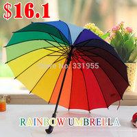 2014 New 16K Rain & Shine Dual-use  Rainbow Automatic Umbrellas For Sales