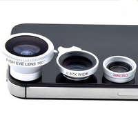 Magnetic 3in1 Fisheye Lens+ Wide Angle + Micro Detachable Lens photo Kit Set for iPhone 4 4S 5 Free Shipping
