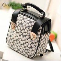 Hot sale 2014 New arrival Women Double zipper lace Backpack Vintage flower School Bag PU leather Tarvel Bag S3723