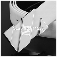1 pcs Free shipping Summer joker pure white letters cowhide leather belt tide male smooth belt buckle recreational belts #HSB003