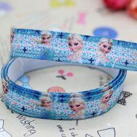 5/8 inch Free shipping Fold Over Elastic FOE frozen printed headband diy hair band wholesale OEM H2452