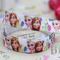 5/8 inch Free shipping Fold Over Elastic FOE frozen printed headband diy hair band wholesale OEM H2450