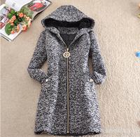 4XL New 2014 Fashion Warm Winter Woolen Coat Women Thick Slim Woolen Outerwear Long sleeve Jackets Women Plus size E 05