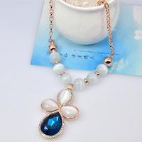 Fashion Elegant Europe America Jewelry Blue Crystal Cat's Eye Flower Diamante Pendant Charm Necklace for Women Free Shipping