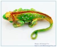 Hot sale vivi animal  lizard shape enamel metal jewelry box  SCJ211