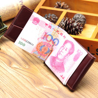 New Faux Leather Slim Money Clip men women ultra-thin short design small wallet  Clip