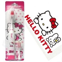 Kawaii Cartoon Hello Kitty&Doraemon Electric Toothbrush with 1 Toothbrush Head Accessories for Bathroom Retail