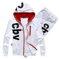 Top selling mens hooded tracksuits fashion sport sweatshirt + pants 4 colors free shipping M-XXL