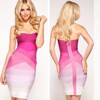 2014 New arrival women Pink gradually shift color off the shoulder tube bandage dress designer sexy celebrity party HL251