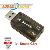 5Pcs USB 2.0 3D Sound Card Mic/Speaker Audio Adapter Virtual 5.1 for PC Laptop Hot New