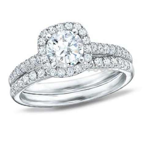 Fashion 1 Carat Round Simulated Diamond Framed Bridal Set In Solid 9K White Gold Diamond Halo Engagement Wedding Rings For Women(China (Mainland))