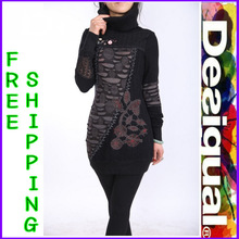 Female money Spain Desigual splicing turtleneck printed show thin waist long sweater(China (Mainland))