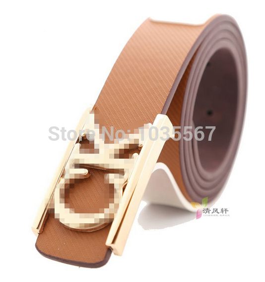 2014 New Korean Men women fashion frosted candy-colored smooth matte texture unisex gold buckle belt buckle personalized letters(China (Mainland))