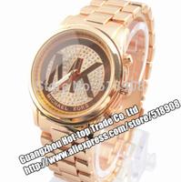 2014 new fashion Luxury Watch Men Steel brand m letther rose gold silver Women dress Rhinestone wristwatches Casual Quartz watch