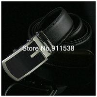 Free shipping 1 piece Men's black top grade business leather belt sedate leisure fashion Automatic buckle cattle Belt #HSB008
