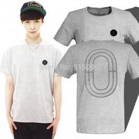 Exo football k m logo embroidery short-sleeve T-shirt
