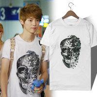 Exo kris skull short-sleeve T-shirt 100% cotton short tee
