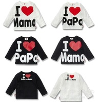 I Love Papa & Mama , Baby Kids 100% Cotton Shirts T-shirt Boys Girls Long Sleeve Tops Tees 9-36 Months