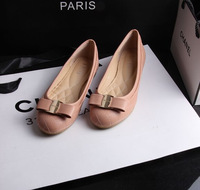 Free shipping Europe Metal bow flats shoes decorative Round toe Ballet Flats bottom Women Flats plus size 35--41