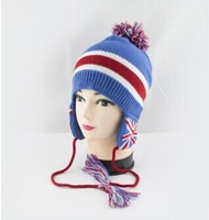 Children warm wool knit hat ear hat British flag