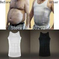 New Black Men Body Slimming Tummy Shaper Vest Belly Waist Girdle Shirt Underwear