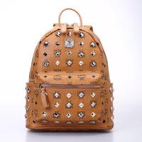 2014 M brand classic printing orange backpack stars and leather backpack Backpack