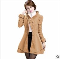 2014 New Fashion Long Winter Coat Winter Coat Blended Wool Coat Slim Was Thin Waist Irregular Hem Woolen Coat DJZ016