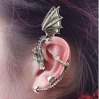 New Design Nickel Free Dragon Jewelry Personality Wings Dragon Ear Stud Cuff Earrings YE062