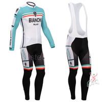 New 2014 Bianchi Long Sleeve Cycling Jersey Cycling Bib Shorts High Quality Cycling Clothing 2014 Free Shipping