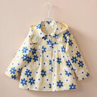 2014 New Brand Children's Outerwear European Style Fashion Kids Jackets Coats Long Sleeve Hooded Girls Coat Coletes Infantis