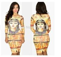 FREE SHIPPING New 2014 Fshion Dresses for Womens Digital Printing King Tut Long Sleeve Dress Women Milk Style