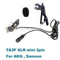 Good Quality TA3F mini XLR 3pin - Cardioid directional Tie Lavalier Lapel Microphone For AKG Samson Wireless
