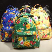 Leather orange backpack Korea new spring and summer 2014 Paradiso Flower Limited series knapsack