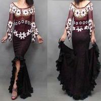 women's fishtail skirt 2014 Autumn European pleated big hem denim skirt big swing lace denim skirts swallowtail long denim skirt