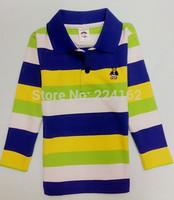 2014 cotton Lycra children  long sleeved cotton shirt and striped T-shirt 100% Cotton T-shirt full sleeve for boy free shipping