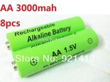8pcs/lot 1.5v aa rechargeable battery 3000mah Alkaline rechargeable batteries batery for mp3 toy 12v (8pcs series )(China (Mainland))