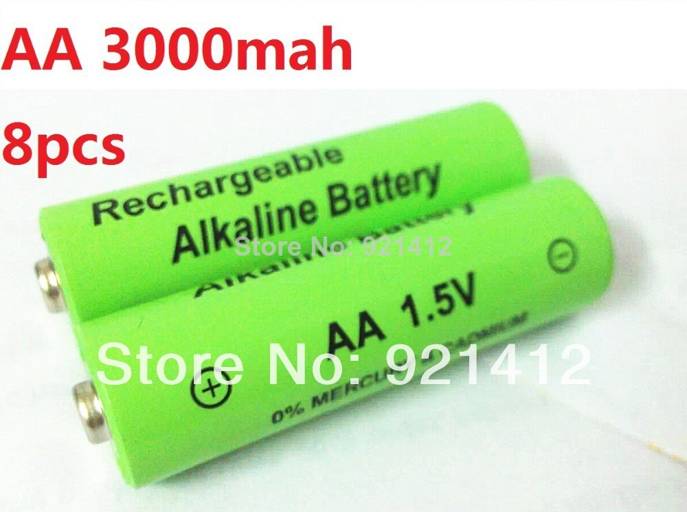 8pcs/lot 1.5v aa rechargeable battery 3000mah Alkaline rechargeable batteries batery for mp3 toy 12v (8pcs series )(China (Mainland))