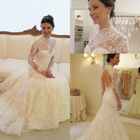 Free Shipping Stunning White Women Wedding Dress Sexy Long High Neck Full Sleeve Bride Dresses New Arrival 2014