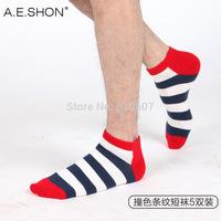Spring Summer Cotton sports striped socks Men's shallow mouth  Boat Socks