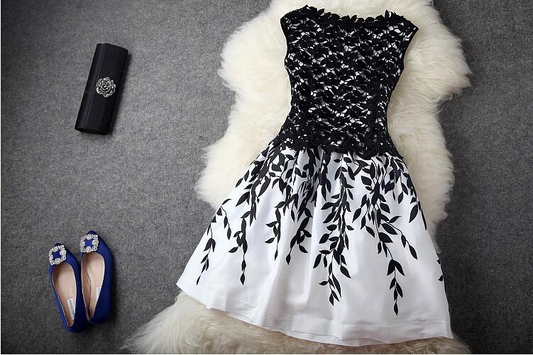 Broderie de dentelle manches 2014 mode pas cher robe de soirée pour les femmes en noir et blanc robe de célébrité robe robes d'été de la piste