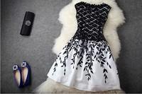 2014 Fashion Embroidery Lace Sleeveless Cheap Evening Dress For Women Black White Dress Celebrity Dresses Summer Runway Dress