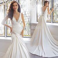 2015 Stunning Wedding Gown Pluning V Neckline Beaded Draped Chapel Train Sleeveless Open Back Satin Dress Bridal Dress Designer