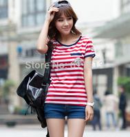 Spring/summer 2014 collection Fashion round collar milk silk stripes with short sleeves