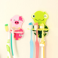 Free shipping  Animal toothbrush holder double suction cup toothbrush hanging cartoon home bath room toothbrush seat