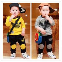 New 2014 autumn Brand Childrens Sports Clothing Set Boys Casual Clothes Sets Kids 2pcs t-shirts+Pants Clothes Suit Boys Garment
